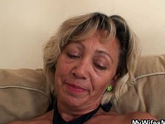 This sexy blonde mother is irritated with her son-in-law for being late and threatens to call his wife but he begs her and woos her with a hot fuck form his stiff young boner in this free European old-young sex video.