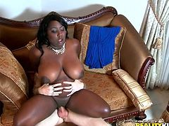 Gosh, you need to see this black whore with your own eyes in Reality Kings sex clip. Slutty ebony nympho with huge droopy boobs rides the dick of white dude. Then bitchie gal with huge rounded ass bends over the couch and gets fucked doggy tough.