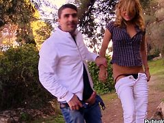 This kinky blond honey Kazzandra-z is a outdoor sex lover! She gets naked and makes this dude enjoy what she can do with his huge cock! Babe is having fun!