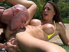 Chanel Preston is smoking hot babe who enjoys getting drilled by big and hard cocks and Johnny Sins definitely has one of that kind. He fucks her really hard while she screams.