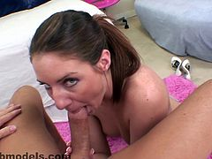 Hottie Taylor Mae enjoys warm blowjob POV and massive load filling her throat