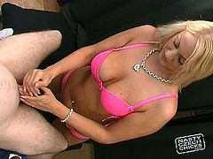 Damn, this blond Czech woman is fucking hot! She has got gorgeous boobs and beautiful face. She exposes her goodies while stocking hard dick giving professional handjob.