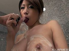 Sexy Japanese chick Yuka is having fun with her BF indoors. She strips and shows him her body and then kneels in front of him and milks his dick dry in her mouth.
