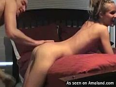 Kinky amateur blond head with nice tits and flossy ass goes nuts about tough poking of her wet cunt from behind. Slender bitch moans and then turns over to be hammered missionary as tough as possible for multiple orgasm.