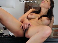 Angel Rivas exposes her beautiful body after she strips off her sexy blue dress. She plays with her delicious pussy.