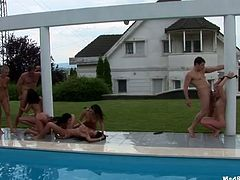 Orgy party near the pool suits perfectly to satisfy horny booty whores