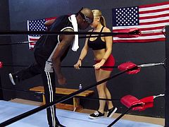 The adrenaline from the boxing ring made this blonde mom horny so when she entered the locker room things started to get hotter. A black hunk paid her some attention and that was all she needed. He licked those big hot boob and in return she gave his cock a lick and much more. Stick around to see