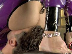 Katsuni and Belladonna have fun in dressing up in latex clothes and playing with Jazz Duro and his hard rod after theyre done getting their pussies licked on the floor