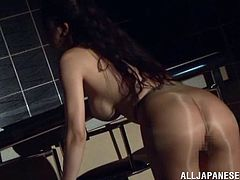 Sexy Reiko Kobayaka dances by the bar counter