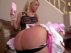 Kathia Nobili is a sgood looking blonde lady that has a nice time punishing sweet maid. Chick in pink and white uniform pulls down her panties and gets her bubble ass spanked. Then she gets ball gagged.