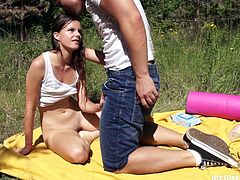 Thirsty dude rubs tasty pink pussy of teen chick with water melon. He licks wet pussy actively. Then brunette teen Tamara sucks big dick deepthroat having dirty oral sex outdoor.