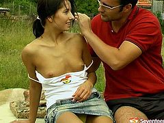 Welcome to see a really horny and voracious country teen in Seventeen Video sex clip. Wondrous cutie has too small natural tits. But her nipples are fist and that means it's high time for a outdoors sex. Dirty-minded chick kneels down and gives a solid blowjob for cum to her lucky BF.