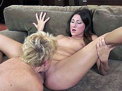 Two pale but hot like fire lesbians presented in 21 Sextury xxx clip are surely worth checking out. Zealous brunette jams her big boobs while slutty blond milf licks, eats and tickles her wet pussy on the couch.