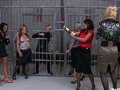 Nobody has expected that slutty tipsy chicks will go wild right in the prison. Spoiled nymphos pull up skirts to boast of rounded pale asses right in the prison cell. Dirty whores in heels play with tits and rub clits for delight.