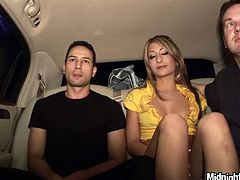 MMF Pornstar sex clip is surely worth checking out. Hot like hell and kinky blondie in golden dress gets rid of her panties. Ardent chick jams her tits while two dudes eat her wet pussy right on the back seat of the limo.