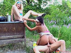 Nasty bitches are able to perform hardcore group sex action on cam fucking furiously at the outdoor party. Girls are riding big dicks and getting banged hard doggy style. This is provocative free sex video presented by Seventeen Video specially for your pleasure. Hungry for cum skanks get mouth cumshots in the end of filthy fuck action.