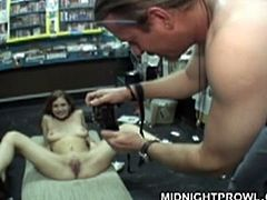 Shabby brunette amateur gives a deepthroat blowjob to aroused daddy right in the middle of grocery store before she sits on the floor with legs spread aside allowing other dudes take photo of her pussy.