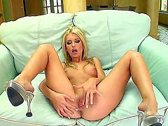 Amazing blonde bitch starts playing with her sweet fresh pussy by fingers. She masturbates so well before standing doggy style, getting ass fingered and banged then.