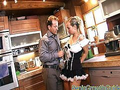 Hot maid fucked in the kitchen