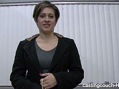 Amateur short haired pale and booty gal poses naked and sucks a black cock