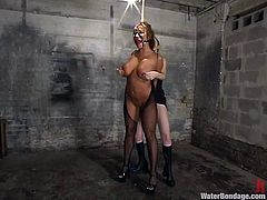 Busty milf Ava Devine gets bound by some girl in a basement. Ava gets her holes explored and then takes a swim in a glass box.