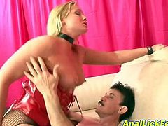 Two sizzling blonds in steamy latex lingerie and fishnet pantyhose please a horny dude in peppering FFM sex scene presented by Pornstar where they ride his massive penis in turns with their stretched assholes and shaved pussies.