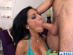 Brunette bombshell Lela Star drives some stud crazy with an astounding blowjob. Then the man slides it into Lela's delicious vag and pounds it hard in side-by-side and other positions.