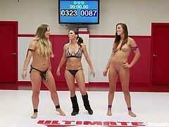 The loser of this wrestling match is in for a nasty surprise. She is going to get a strap on dildo shoved into her mouth. Rilynn thinks she has the advantage, but she is wrong. She loses to Holly Heart and is made to get on her knees and suck on her big black strap on.
