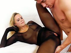 Barra Brass is gorgeous blonde mom with killer body. She is wearing black nylon bodystocking. This turns her on as hell because she has special fetish to pantyhose. Check out this kinky porn movie.