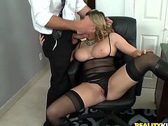 As this pale curvy blond head is the way too addicted to cum, she never misses a chance to suck a delicious lollicock for gooey sperm. Zealous harlot with big boobs spreads legs wide and tickles her pussy, while giving a solid blowjob to a hot cock right in the office.