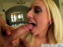 Dazzling blonde feels a warm pleasure stretching her ass during top anal scene