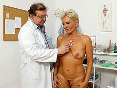 Filthy blonde mommy with saggy natural boobs and chubby body is standing naked in Doctor's office. He grabs her titties kneading sensually. Then she lies on a couch spreading her legs wide so the Doc open pussy lips with fingers exposing pinkish vagina. Nasty Old Pussy Exam XXX free porn clip.