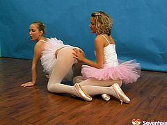 Bolshoi Ballet ballerina's are not that good as these sexy girls. Watch two appealing ballerina's playing kinky lesbian games right in a dancing room.