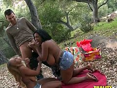 Two big breasted Black girls have interracial threesome sex at a picnic in the forest. They suck a dick and lick each others pussies. Of course then they get their pussies drilled.
