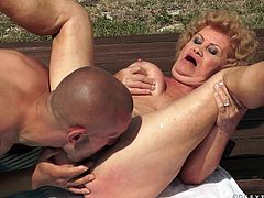 Sex addicted old bitch takes her swimsuit off and fondles her vagina. After that she sucks a cock and gets her old pussy licked. Then she gets fucked by much much younger guy.