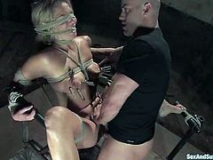Divine blondie is being inflicted to some severe pain