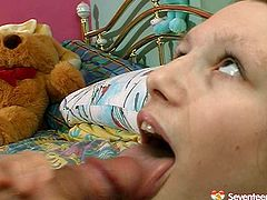 Welcome to enjoy a really voracious for sperm brunette young nympho. Horn-mad gal with small tits stands on her knees. She's totally absorbed with giving a solid blowjob for gooey cum and plugs the tool deep in her mouth.