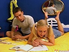 Blonde sweetheart with appetizing natural tits is wearing ponytails and mini skirt. The tutor has fetish for such type of girls so he loses control and seduces the girl for sex.