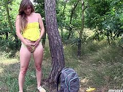 Amateur girl Bella walks in the forest along. She strips seductively teasing her sexy slim body. Leaning over the tree in the forest she rubs wet pussy with fingers. She licks juice off her fingers. Hot solo masturbation session presented to you by My Sexy Kittens.