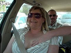 kinky fat slut with saggy big tits give tugjob in the car. She is eager for a portion of sperm and swallows his dick deep in her throat. Enjoy hot Fun Movie for free.
