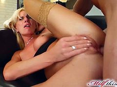 Horny blonde enjoys deep fisting her twat during hot hardcore porn scene