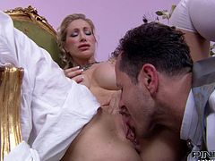 The two wealthy aristocrats are about to get dirty in their chambers. Watch as she pulls down his pantaloons, to reveal his throbbing cock. You can see his thick pecker. She sucks him off and gets fucked.