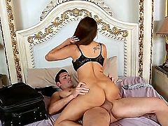 Exotic brunette milf Francesca Le with big juicy hooters and bouncing ass in sexy underwear gives head to handsome young stud Ryan Driller and rides on his stiff dick.