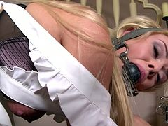 That cute blonde housemaid is a busty and plumpy babe good for anything. Her sexy blonde mistress ties her up and gags.