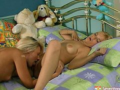Just look at these awesome pretty blondies presented in Seventeen Video sex clip and be sure to jizz all over the place. Both hotties with flossy asses are pros in eating and spooning wet juicy teen pussies. Gosh, I wish I could join amazing cuties to gain my portion of pleasure...