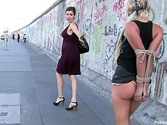 A dirty blonde slut is gagged, tied up and abuses on the streets in this kinky bdsm scene right here! Hit play and check it out!