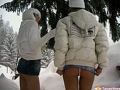 This video is taken outdoor in winter. Adventurous babes strip in freaking cold weather. Watch them pleasing one another with smooth dildo fucking outdoor.