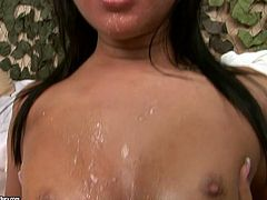 Spoiled brunette whore Angelica Heart is a real nympho who ga-gas over big juicy cocks. She gives steamy blowjob to strain dicks in turns until the jizz intensively on her pretty face in peppering gangbang sex video by 21 Sextury.