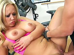 Smoking hot blonde milf Austin Taylor with big round ass and juicy knockers gives head to handsome fitness instructor Xander Corvus and gets nailed balls deep in the gym.