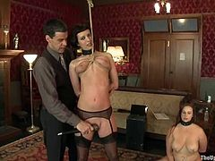 Kinky girl gets her ass slapped and whipped. Later on she gets her vagina drilled with strap on by another hot chick.